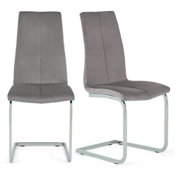 Jamison Set of 2 Dining Chairs Light Grey Velvet