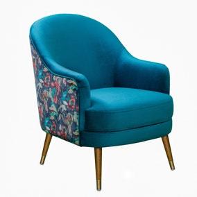 Ariel Velvet Printed Chair - Teal