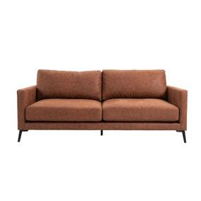 Frey PU Leather 3 Seater Sofa - Tan