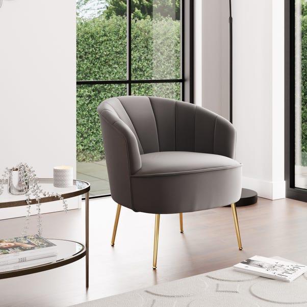 Matilda Velvet Shell Chair - Grey Grey