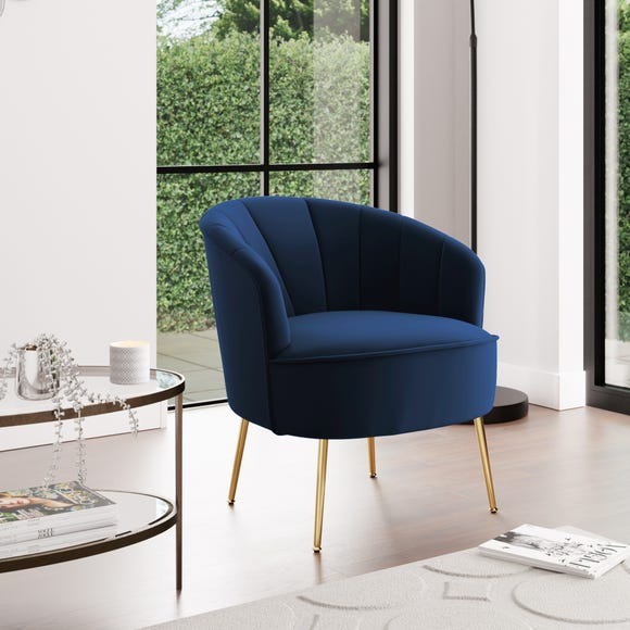 Matilda Velvet Shell Chair - Ink Ink (Blue)
