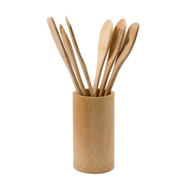 Dunelm Bamboo Utensil Set with Pot Natural