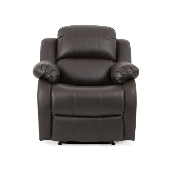 Anton Bonded Leather Reclining Armchair - Grey Grey