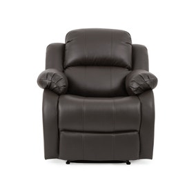 Anton Bonded Leather Reclining Armchair - Grey