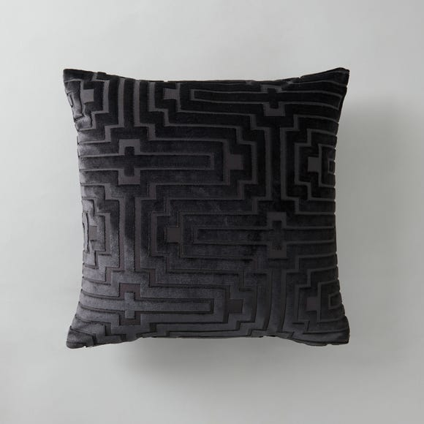 Harlow Greek Key Velvet Cushion Grey