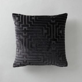 Harlow Greek Key Velvet Cushion