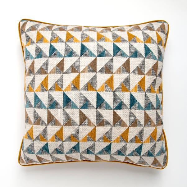 Portland Teal Triangle Print Scandi Cushion Teal (Blue)