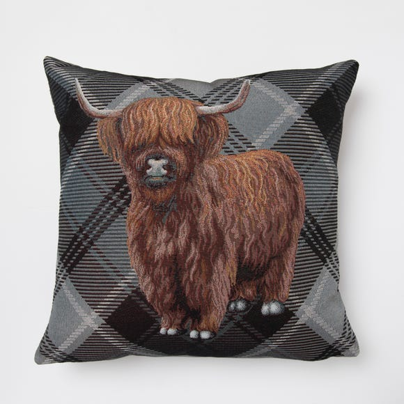 Highland Cow Tapestry Cushion Grey