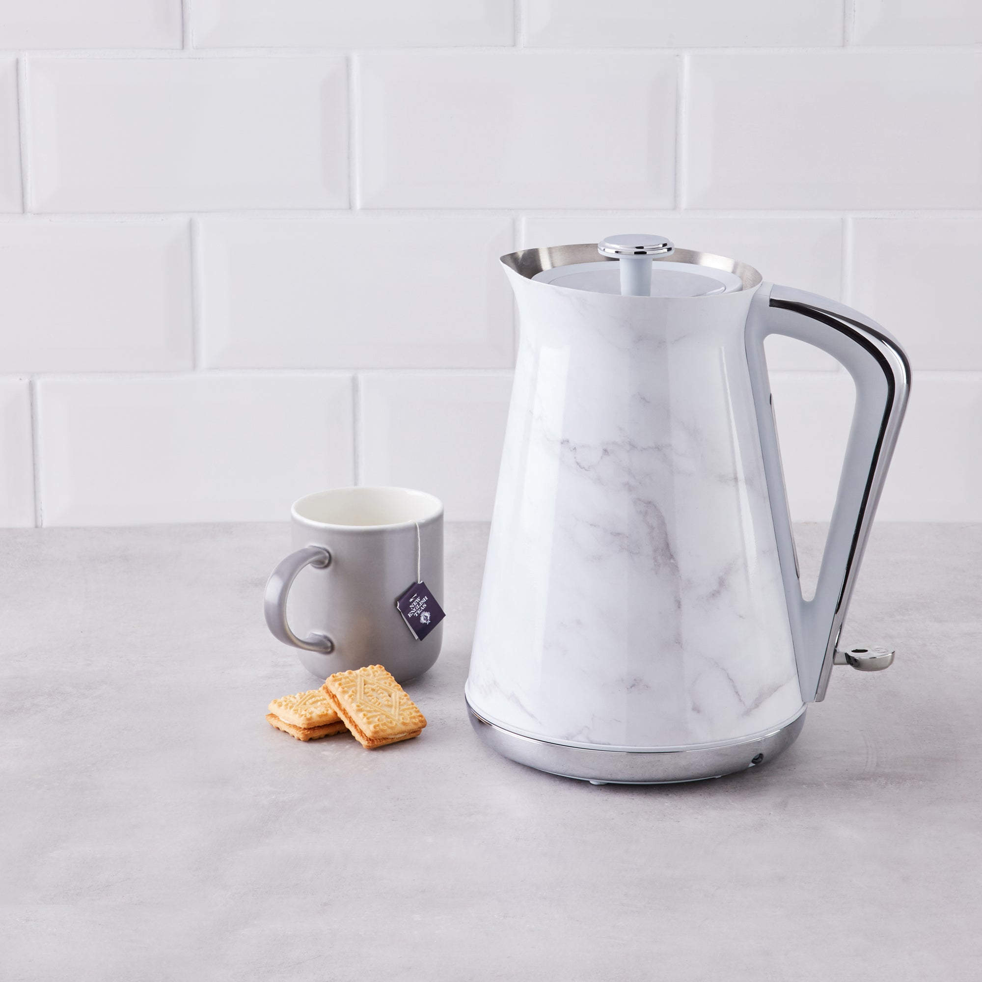 Click to view product details and reviews for White Marble 17l Kettle White And Grey.