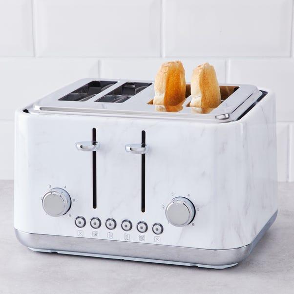 White Marble 4 Slice Toaster White