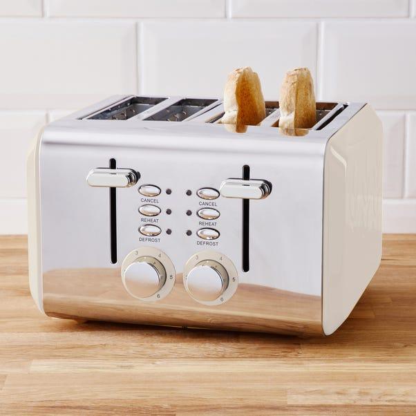 Vete Cream 4 Slice Toaster Off-White