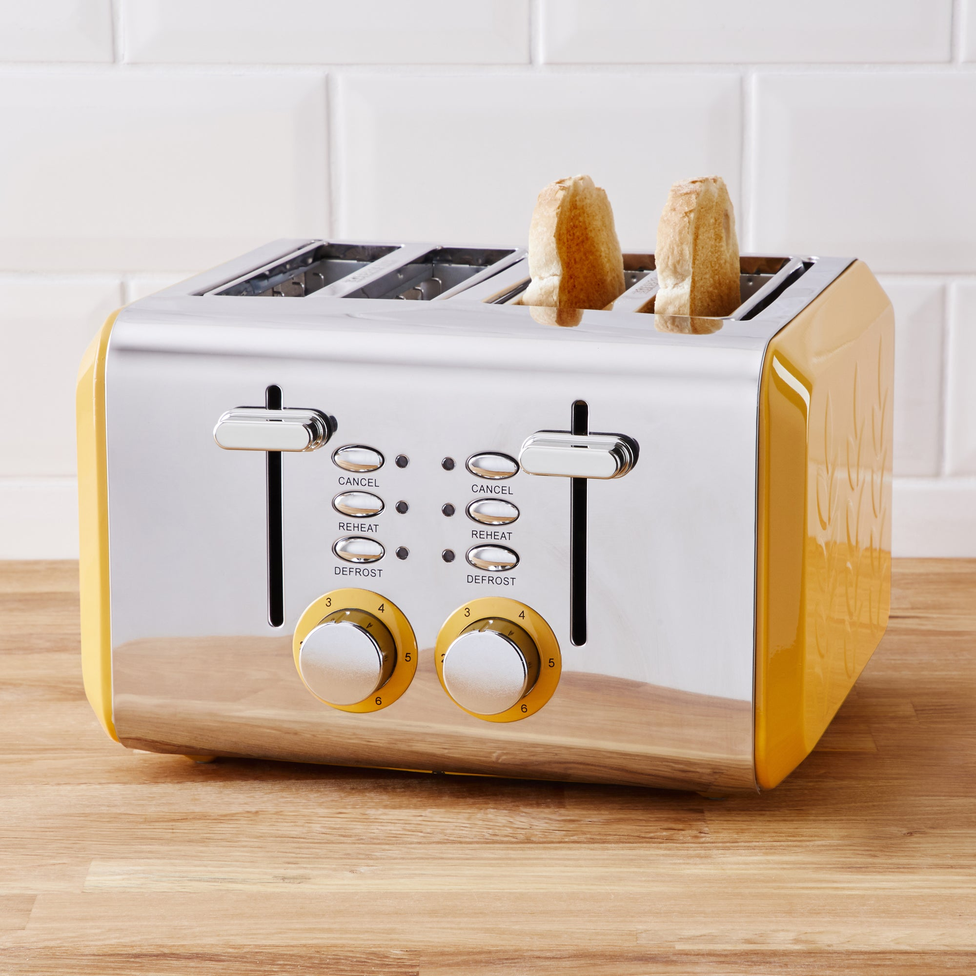 Click to view product details and reviews for Vete Ochre 4 Slice Toaster Yellow And Silver.
