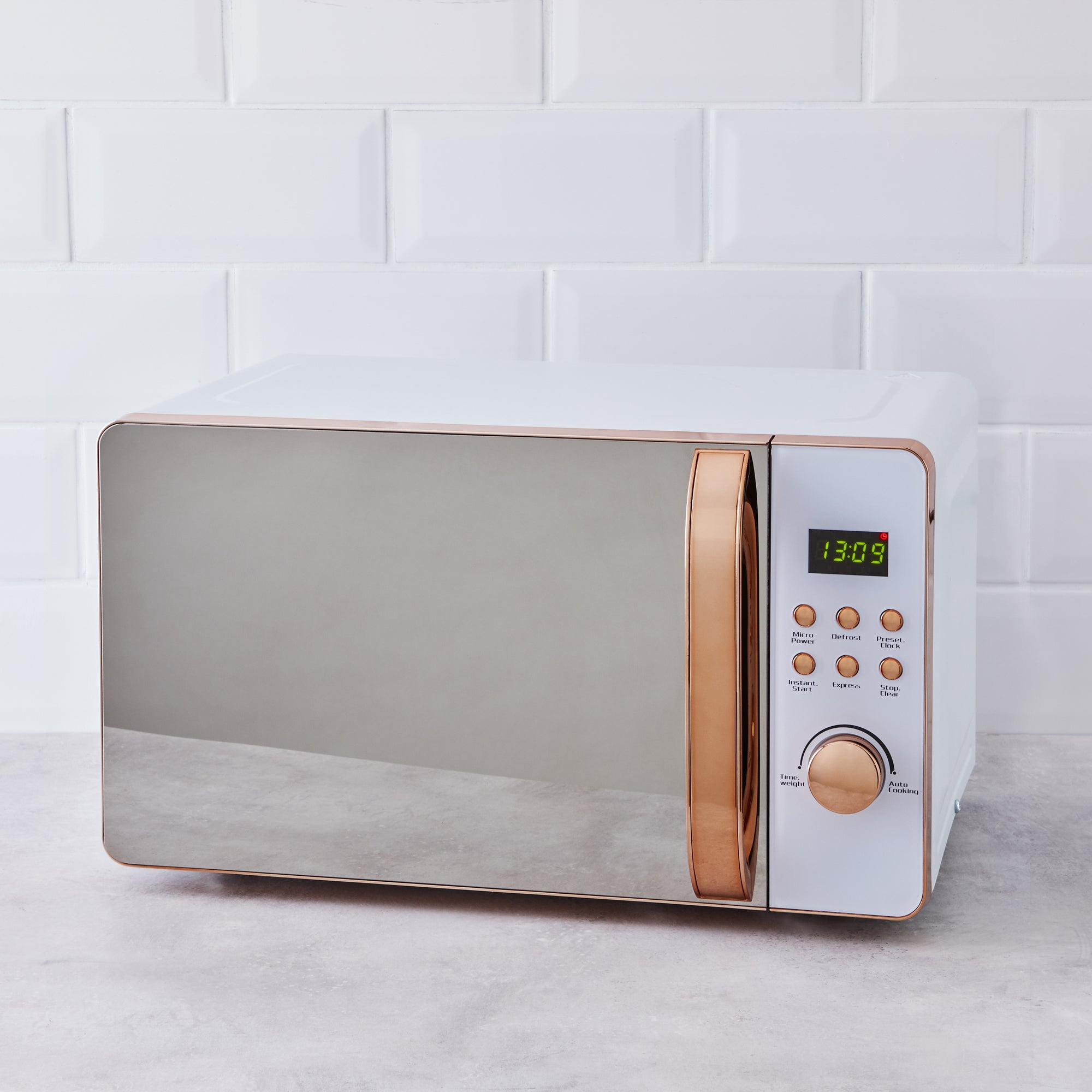 Click to view product details and reviews for White And Copper Microwave White.
