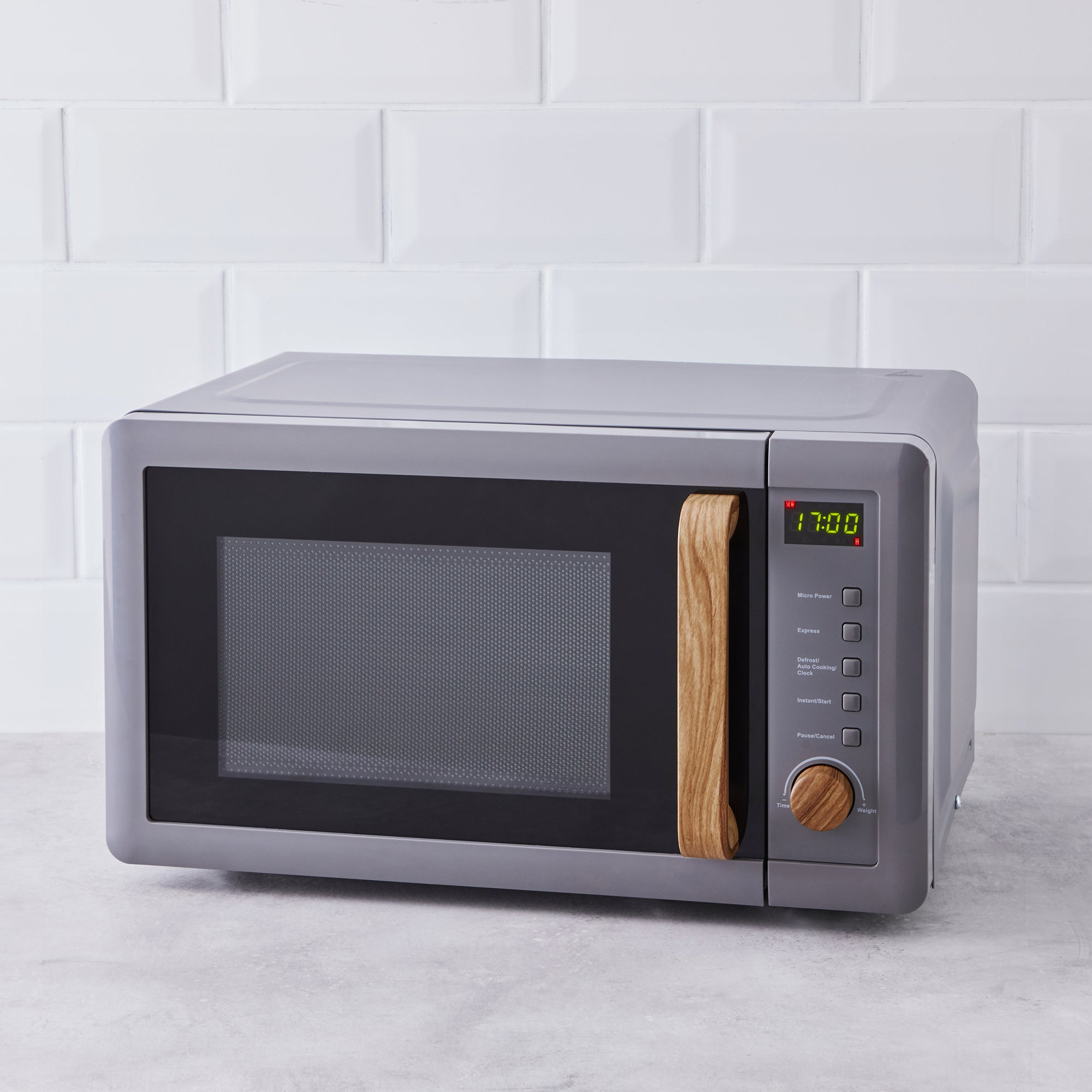 Click to view product details and reviews for Contemporary 20l 700w Grey Microwave Grey And Brown.