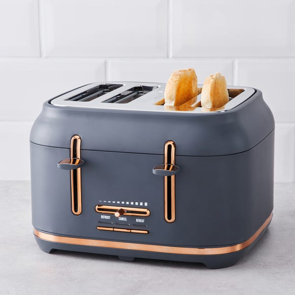 Grey with Copper Accents Toaster Grey