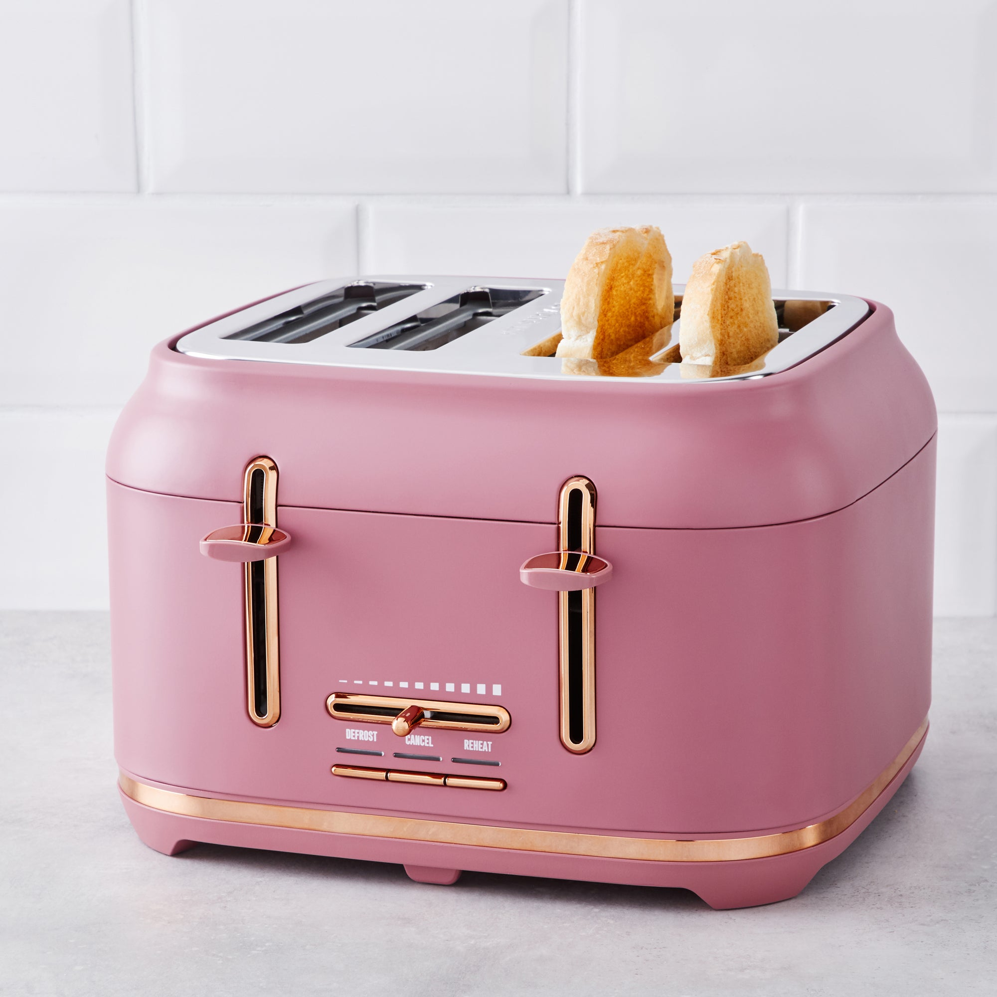 Blush With Copper Accents Toaster Pink And Silver