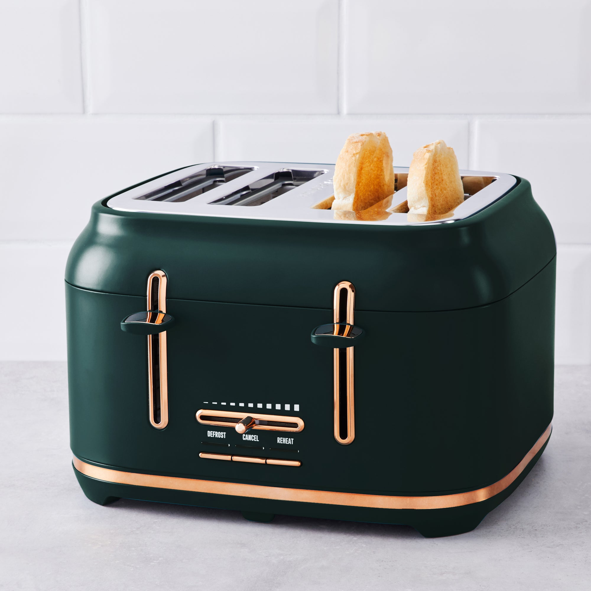 Click to view product details and reviews for Peacock With Copper Accents Toaster Green And Gold.
