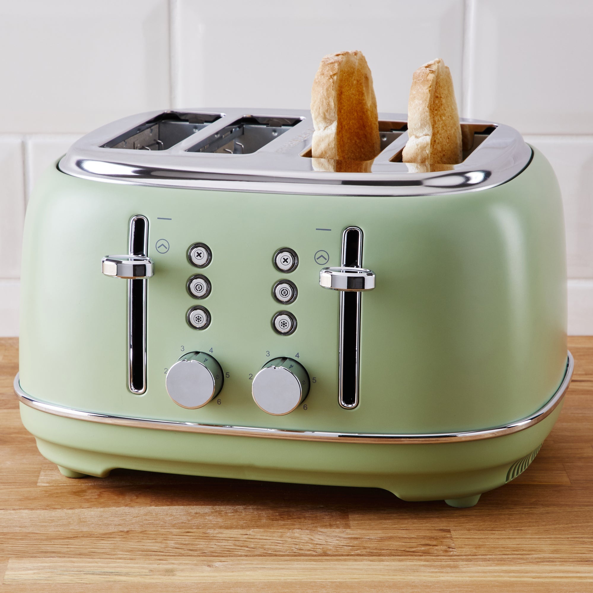 Coastal Sage Green 4 Slice Toaster Green And Silver