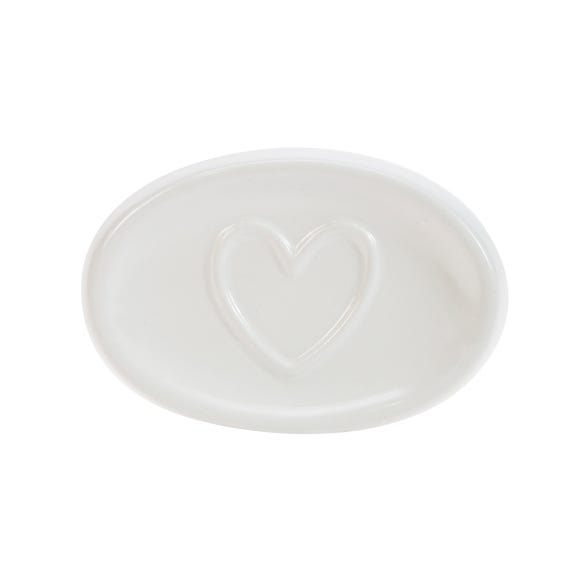 Country Heart Soap Dish White