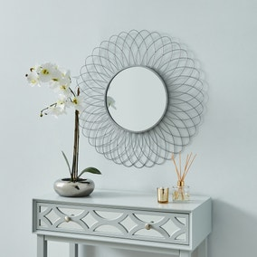 Metal Silver Starburst Mirror