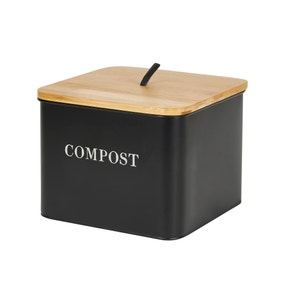 Matt Black and Wood Compost Caddy