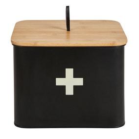 Matt Black Wooden First Aid Box