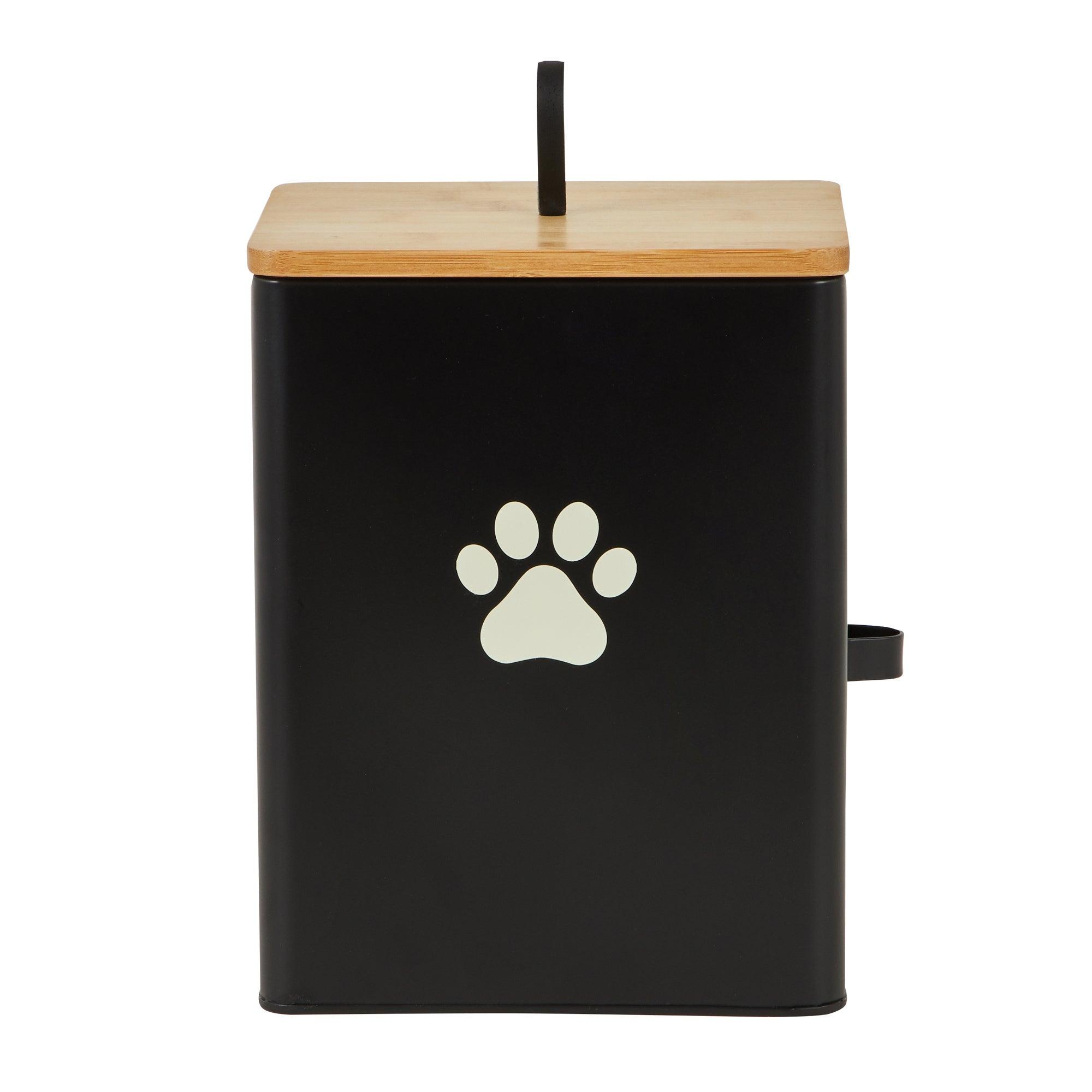 Matt Black Wooden Pet Food Caddy Black