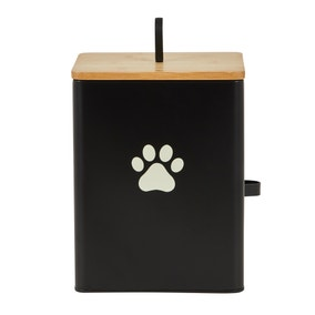 Matt Black Wooden Pet Food Caddy