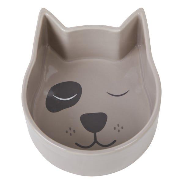 Dog Shaped Pet Bowl Dark Grey