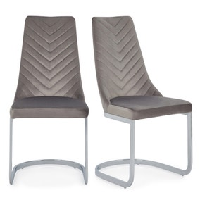 Nova Set of 2 Dining Chairs Grey Brushed Velvet