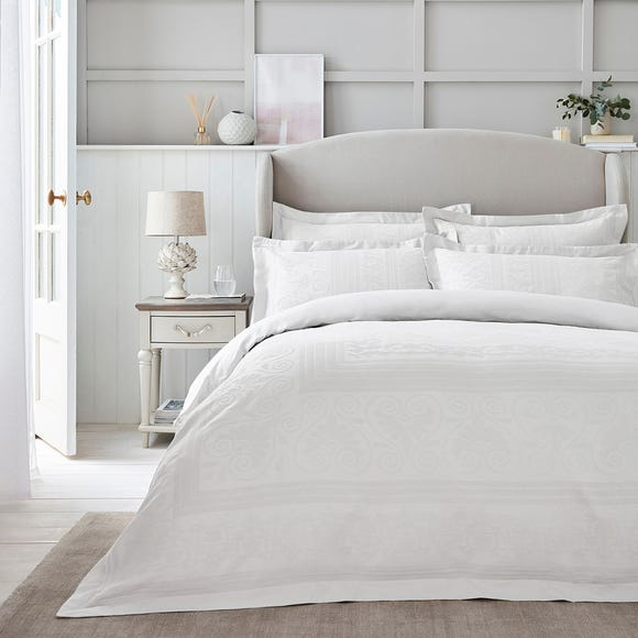 Dorma Purity Paloma 100% Cotton White Jacquard Duvet Cover  undefined