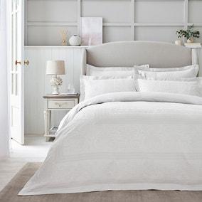 Dorma Purity Paloma 100% Cotton White Jacquard Duvet Cover