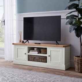 Compton Ivory Wide TV Stand with Baskets
