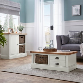 Compton Ivory Coffee Table with Baskets
