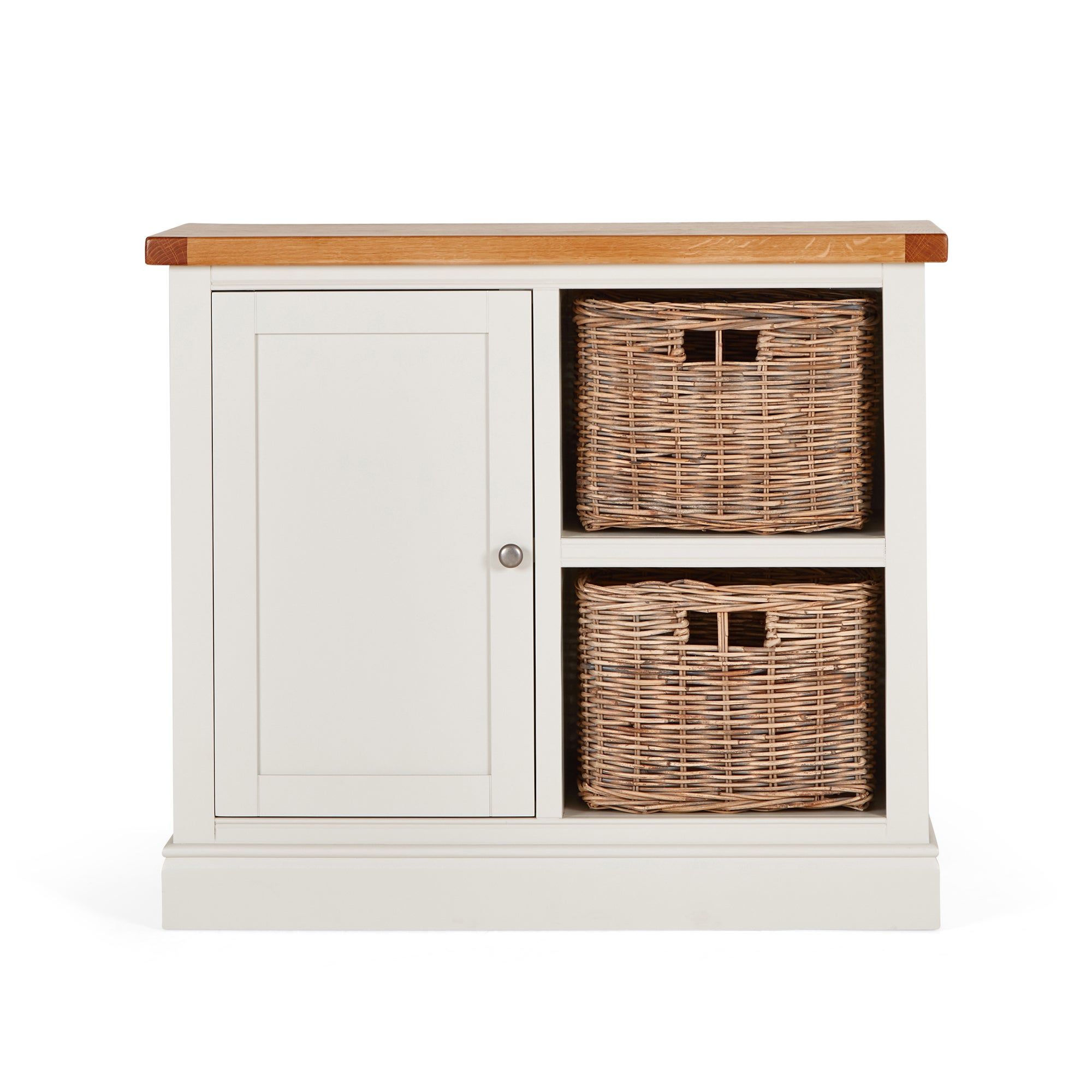 Compton Ivory Small Sideboard with Baskets Cream and Brown