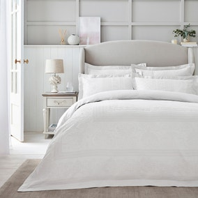 Dorma Purity Paloma 100% Cotton White Jacquard Duvet Cover