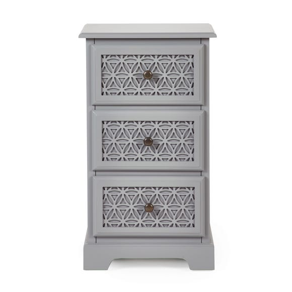 Carys 3 Drawer Bedside Table Grey