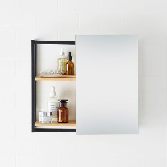 Sliding Compact Cabinet Mirror Black