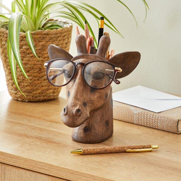 Giraffe Head Pot and Glasses Holder Brown