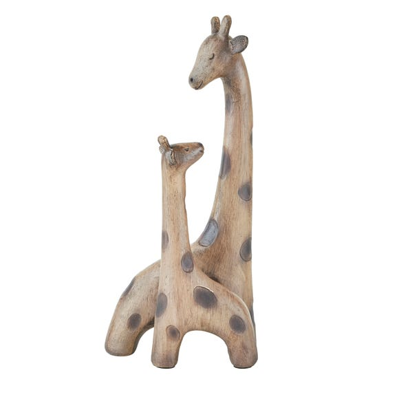 Resin Giraffe Mother and Child Sculpture Brown
