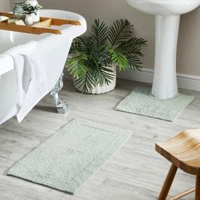 Duck Egg 100% Cotton Bath and Pedestal Mat Set