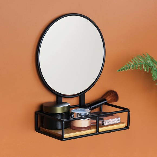Compact Living Pedestal Mirror and Shelf Black