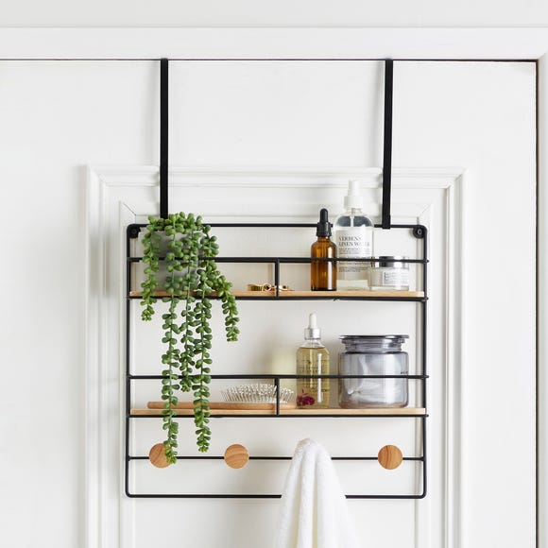 Multi-Purpose Bamboo Over Door Storage Basket Natural