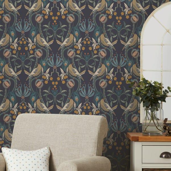 Havisham Navy Wallpaper Navy