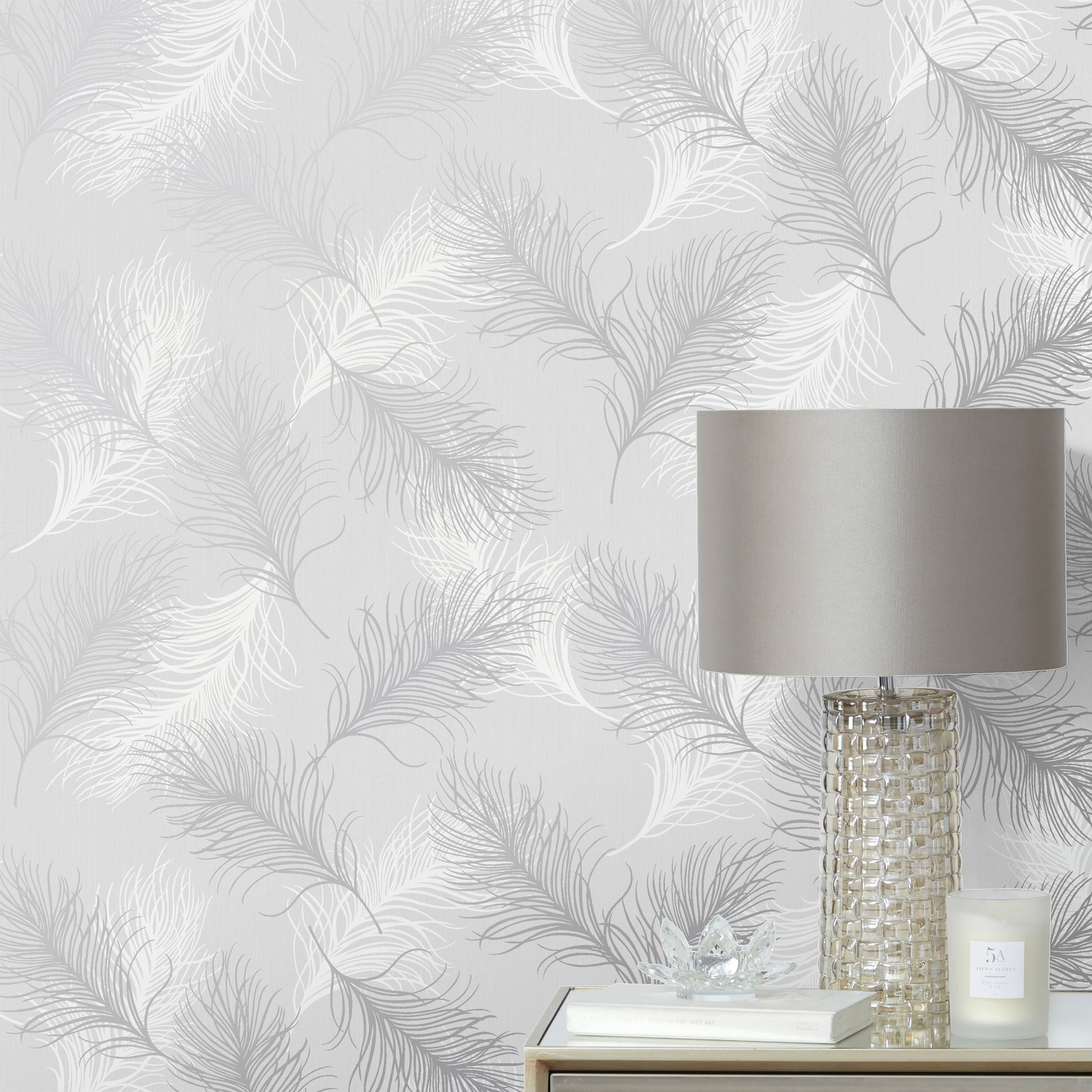 Click to view product details and reviews for Feather Silver Wallpaper Grey.