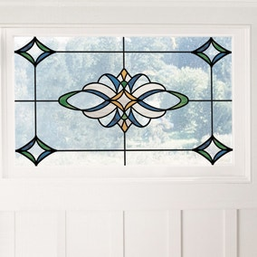 Blue Meridan Static Stained Glass Decal