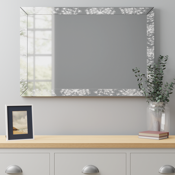 Cow Parsley Over Mantle Mirror 60x90cm Silver