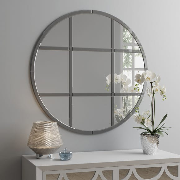 Smoked Luxe Window Circular Mirror 80cm Silver undefined