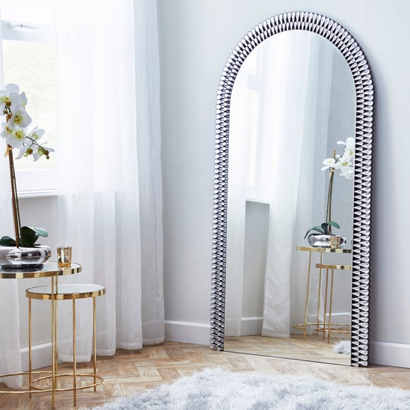 Glam Gem Edge Arched Leaner Mirror 80x150cm Silver undefined