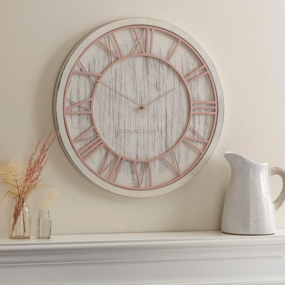 Blush and White Wooden Wall Clock White